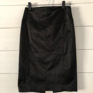 Express Black Satin Pencil Skirt